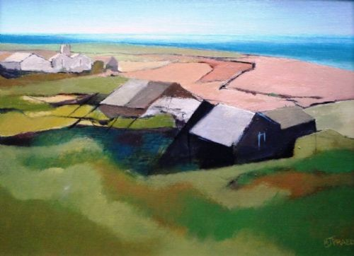 Michael Praed Cornish landscape Morvah oil on board
